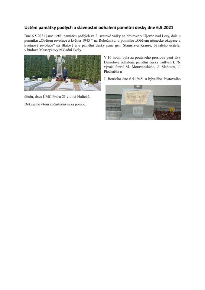 Uctění památky padlých a slavnostní odhalení památeční desky dne 6.docx