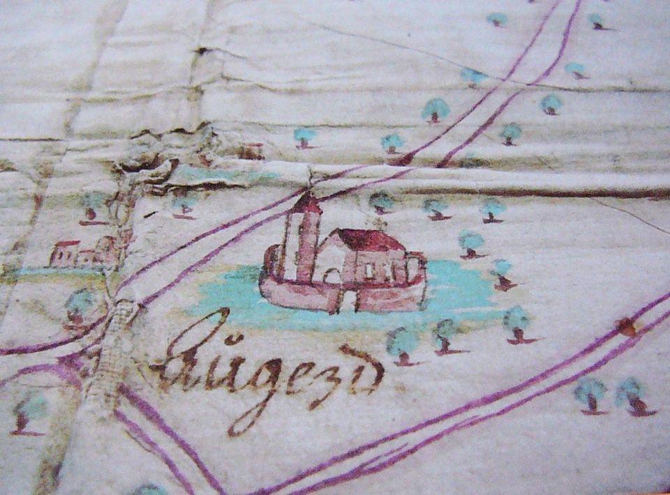 kostel na mapě Újezda r.1717.JPG